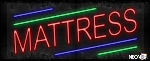 Image of Mattress in red with colorful lines LED Flex