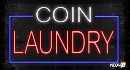Image of Coin Laundry with blue border LED Flex