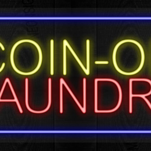 Image of Coin-Op Laundry with blue border LED Flex