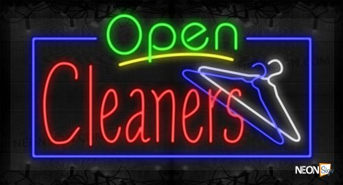 Image of Open Cleaners with Hanger Images and Blue Border LED Flex