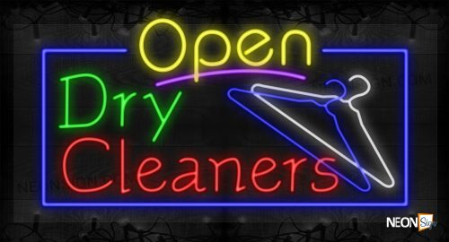 Image of Open Dry Cleanerss with Hanger Images and Blue Border LED Flex
