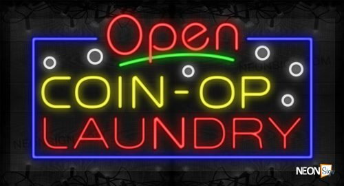 Image of Open Coin-Op Laundry with Bubbles and Blue Border LED Flex