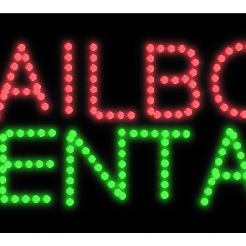 Image of Mailbox Rental LED Bulb Sign