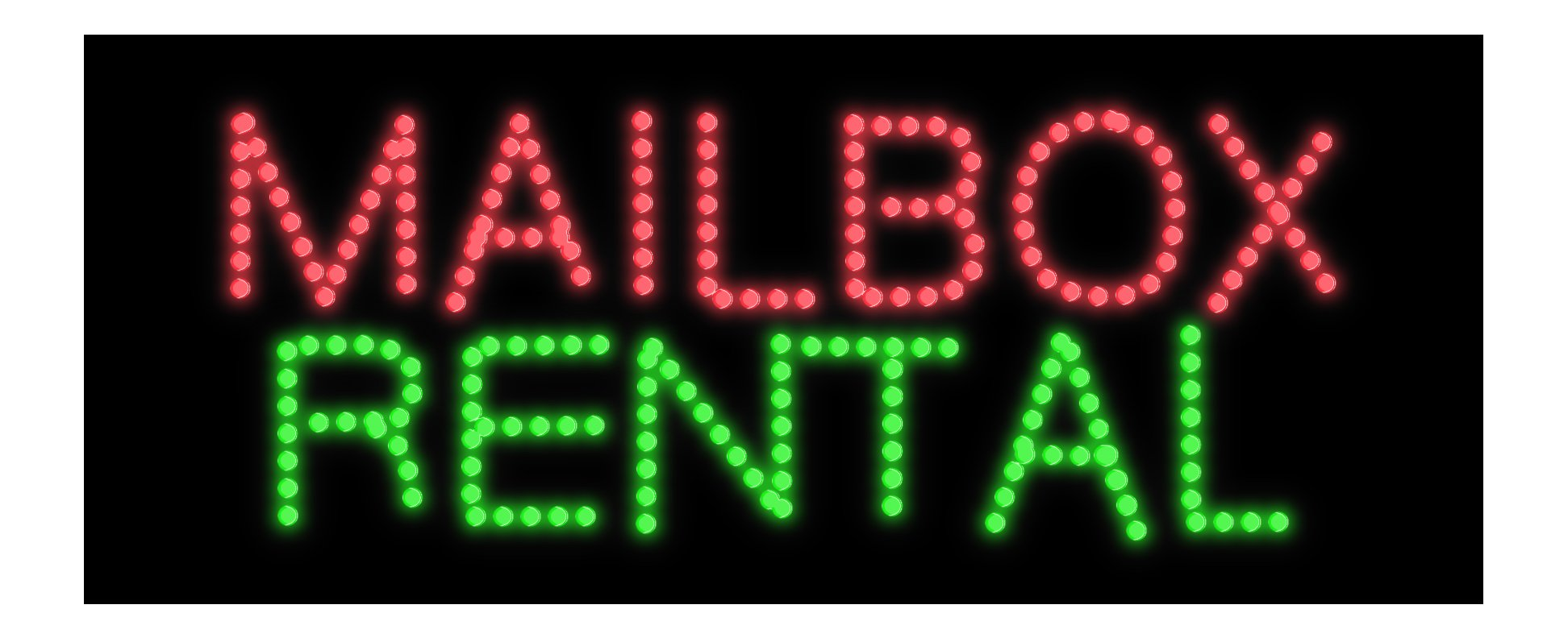 Image of Mailbox Rental LED Bulb Sign
